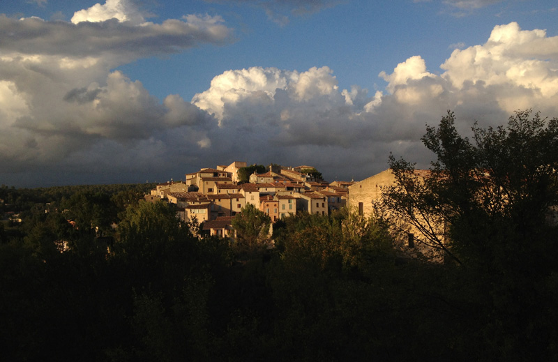 Seen from the road from Brignoles, Carcès awaits a coming storm.